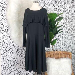 Eloquent | Ruffle Black A Line Black Swing Dress